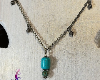 """""""Jalisco"""" necklace with turquoise and bronze metal chain"""