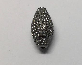 Pave white topaz  sterling silver beads