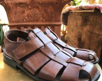 Johnston & Murphy Men's Size 9 Dress Sandal, Brown Leather Fisherman's Sandal