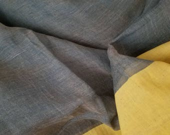 Grey Green Linen Saree