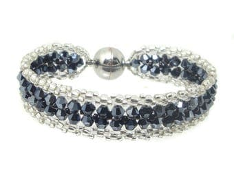 Bracelet - Crystal cut glass - Hematite / Silver (BS-1353)