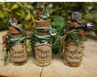 20% OFF STOREWIDE Fairy Garden Herbs for Magic Potions, Tiny Glass Bottles filled with dried flowers and leaves, Miniature Potion Bottles, F