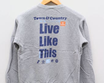Vintage T&C Town And Country Surf Designs Live Like This Enjoy Surfing Gray Pullover Sweater Sweatshirt Size 150