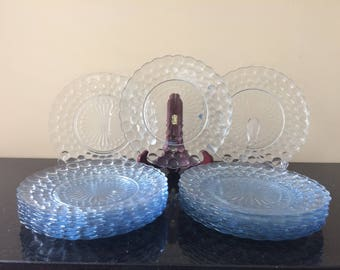 Collectible Vintage Glass Dinner Plates, Set of 4, Bubble Blue by Anchor Hocking, Actual 1942-1948, (3 Sets of 4 Plates Available), PL3602