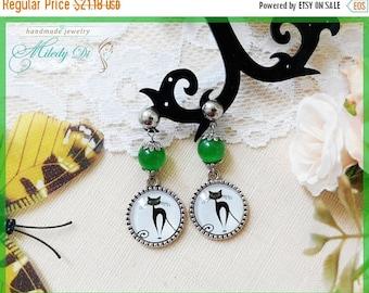 Sale Cat lover earrings gift for sister Cat eye jewelry Green stud earrings Cat cabochon earrings for girl Modern chandelier earrings