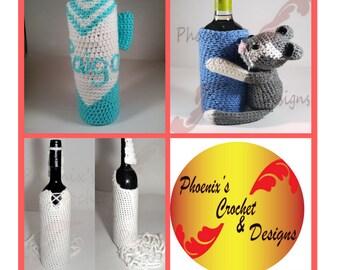 Custom Wine Bottle Cozies, Crochet Wine Bottle Cover
