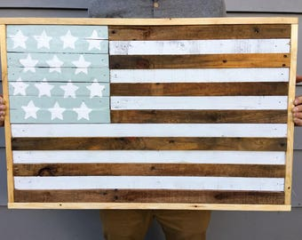 Reclaimed American Flag - Rustic Wood Art - Reclaimed Wood Decor - Americana
