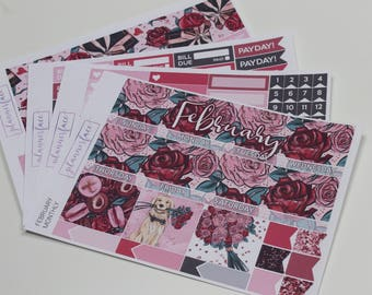 February Monthly Kit | Monthly Sticker Kit for Erin Condren, Monthly View, Floral, Rose Bouquet, Valentines Kit, Love, Pink, Red, Black