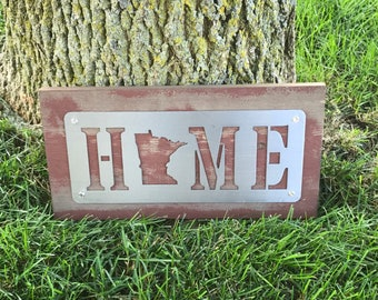 Minnesota Home Wood Sign