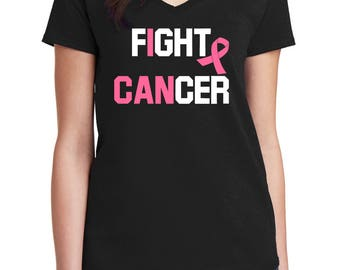 Ladies V-neck I Can Fight - Hope T-Shirt - Just Beat It Tee - Shirt Women's - Support - Pink Ribbon - The Breast Cancer Awareness Month