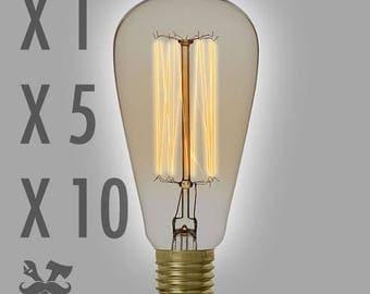 Edison bulb, ST64 Vintage Filaments, Steampunk, 220V, E27, Ironwoodstache, 25W, 40W, 60W
