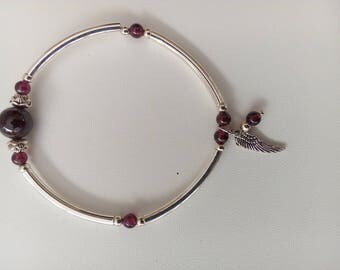 Garnet and silver metal Bangle style bracelet real