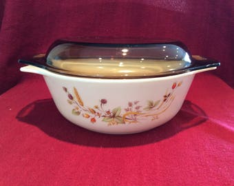 Pyrex Harvest part of the St Michael range for Marks and Spencer Casserole Dish 1.25 Litre circa 1980