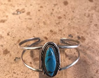 Navajo Sterling Silver & Kingman Turquoise Bracelet