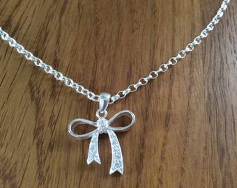 Sterling silver handmade Jewelry,  bow pendant necklace, bohemian, with cz sparkly stones, Valentine gift for her