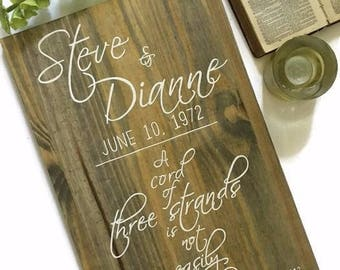 A Cord of Three Strands Wedding Sign Wooden Sign Personalized Wedding Gift Bride and Groom Name Wedding Date Ecclesiastes 4 Wedding Plaque