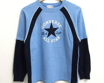 RARE!!! Converse All Star Big Logo Embroidery SpellOut Crew Neck Blue Colour Long Sleeve Hip Hop Swag 160 (S)