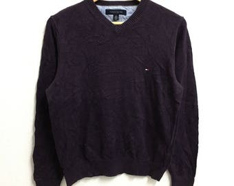 RARE!!! Tommy Hilfiger Small Logo Embroidery V-Neck Dark Purple Colour Sweatshirts Hip Hop Swag S Size
