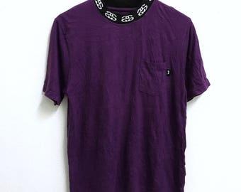 RARE!!! Stussy Streetwear Skate Single Pocket Crew Neck Purple Colour T-Shirts S Size