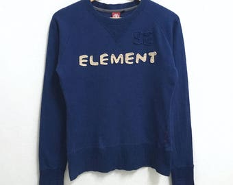 RARE!!! Element Streetwear Skateboard Big Logo Embroidery Crew Neck Blue Colour Sweatshirts Hip Hop Swag M (Ladies) Size