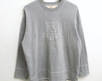 RARE!!! Fila Biella Italia Big Logo Embroidery Crew Neck Grey Colour Sweatshirts Hip Hop Swag L Size