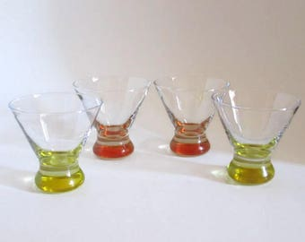 Vintage Cocktail Glasses with Heavy Colored Base