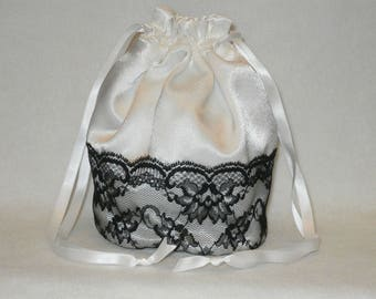 White Satin & Half Lace Dolly Bag Evening Handbag / Purse For Wedding /Bridesmaid/ Prom Drawstring