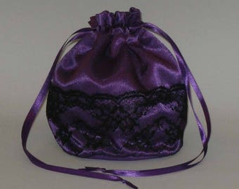 Purple Satin & Half Lace Dolly Bag Evening Handbag / Purse For Wedding /Bridesmaid/ Prom Drawstring