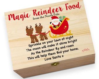 Magic Reindeer Food Printed Christmas Eve Wooden Gift Box