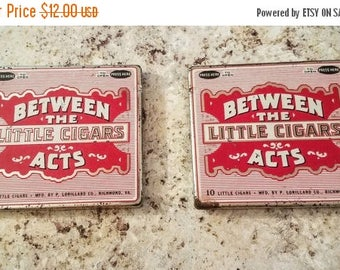 ON SALE Vintage Cigar Tins - Between the Acts Little Cigars, 1950s