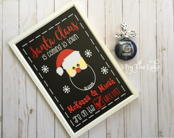 Santa is Coming to Town Reusable Christmas Countdown Chalkboard Sign for Children