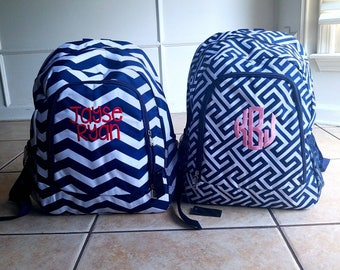 Monogrammed backpack Navy chevron backpack and lunch bag- personalized bookbag