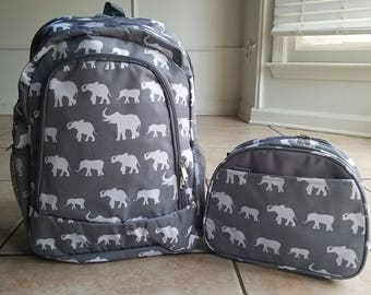 Grey Elephants backpack and lunch bag Gray Elephants Backpack and Lunch bag