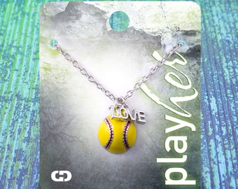 Customizable! Enamel Softball Love Necklace - Personalize with Jersey Number, Heart, or Letter Charm! Great Softball Gift!