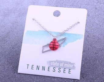 Customizable! State of Mine: Tennessee Basketball Enamel Necklace - Great Basketball Gift!