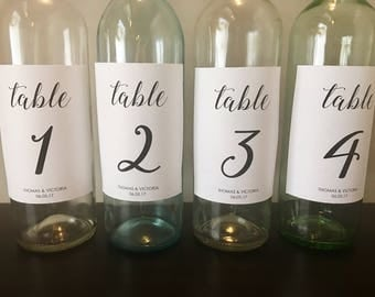Table Number Wine Bottle Label // Wedding Table Numbers // Custom Wedding