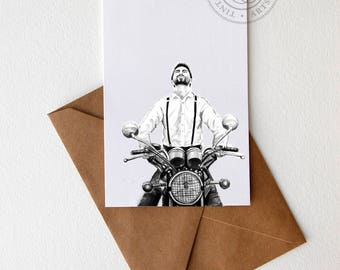 Motorcyclist Gift Motorcycle Art Motorcycle Gift Motorcycle Print Vintage Motorcycle Triumph Gift Triumph Bonneville Boyfriend Card