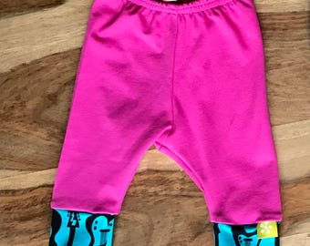 Pink Baby Leggings Organic Cotton Leggings with Blue Trim