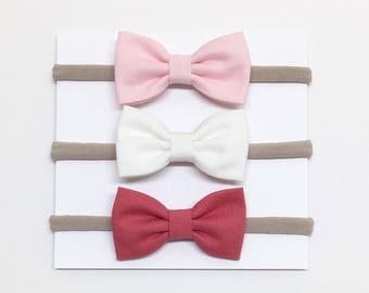 Baby Headband Bows - Pink White Strawberry - Baby Headband - Clips or headbands
