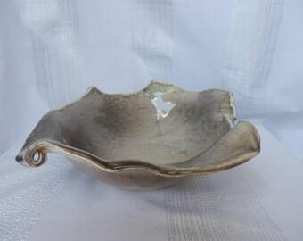 Original round cut cloud white and grey glazed ceramic