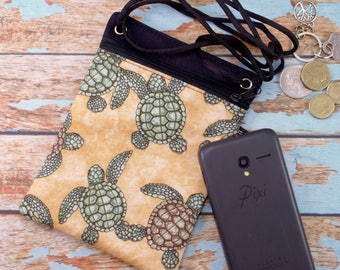Crossbody phone bag.Green and brown sea turtle. ipod cell phone pouch