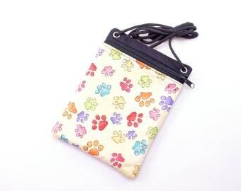 Cross body bag. Cute coloured dog paws.  phone pouch. Crossbody purse.