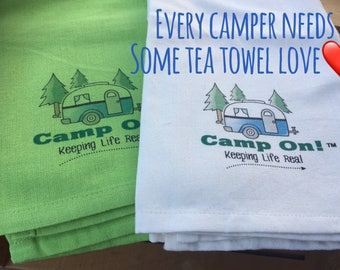 Tea Towels A Perfect Camper Addition Bright & Cheery Camp On! ® Trademark Brand