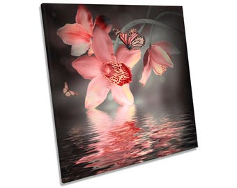 Orchids Floral Flower Butterfly Pink CANVAS WALL ART Square Print