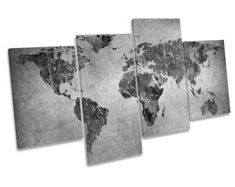 Map of the World Grunge Greyscale Multi CANVAS WALL ART Print Picture