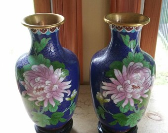 Pair of Vintage Blue Ground Cloisonné Vases with Stands; Beautiful Pink Flowers, with Stands