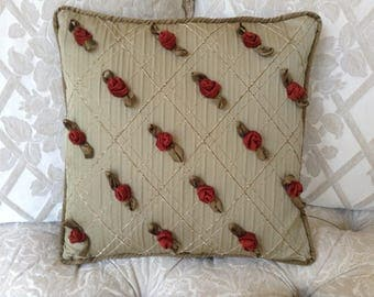 Cushion cover with appliqued red roses