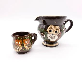 CREAMER Vintage Brown Ceramic Milk and Cream Jug with Owl Design Hand Made Swiss Pottery