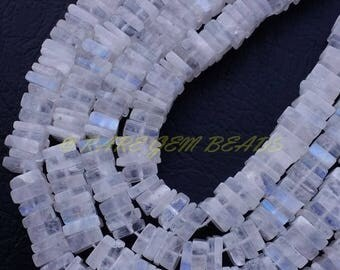 """38% OFF Natural Rainbow Moonstone Square, Moonstone Smooth Heishi Cut Square Beads, 5 MM Size, 16"""" Strand, Loose Gemstone Beads Best Quality"""