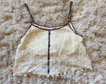 XS Paper Crane Crochet Crop Top
